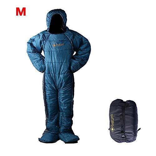 Sac de Couchage en Forme de humanoïde pour intérieur et extérieur, randonnée, Camping, Sac de Couchage, Bleu M