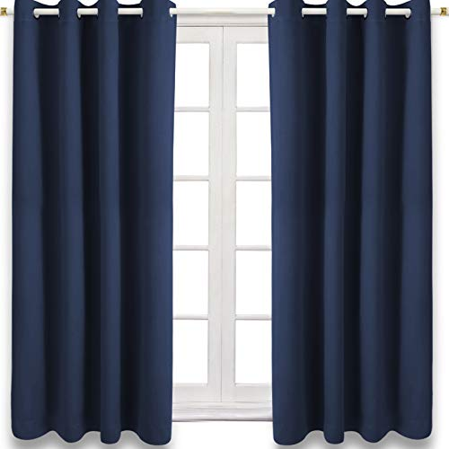CAMPIR Blackout Curtains,Thermal Curtains,Room Darkening Grommet Blackout Curtains for Living Room Curtains , Support Window ,Closet and Bedroom,Set of 2 Panels(52x63 inches-Blue)
