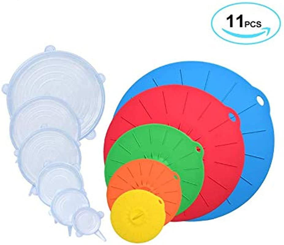 DIM 11 Piece Silicone Lid Set 5 Reusable Suction Silicone Bowl Lid And 6 Airtight Stretch Lid Combo Set