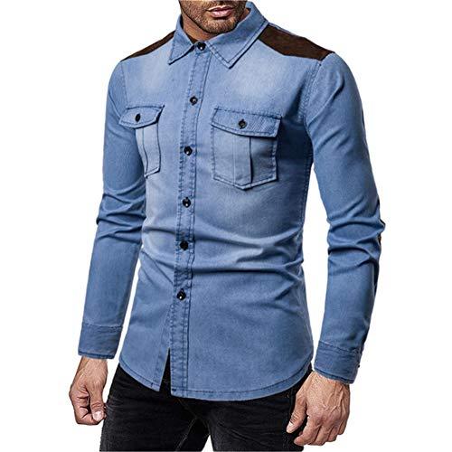 Men Denim Shirt Washed Denim Slim Fit Shirt Kent Collar Vintage Casual Shirt Spring and Autumn Comfortable All-Match Fashion Boutique Shirt .C-Light Blue XXL