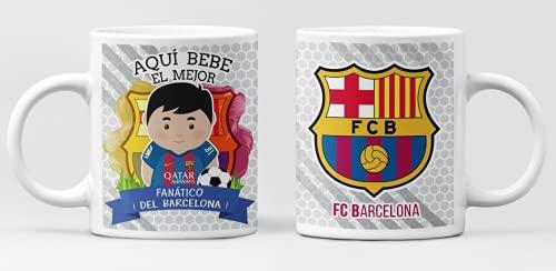 Taza Aqui bebe el mejor fanático del Barcelona. Taza de cerámica fútbol