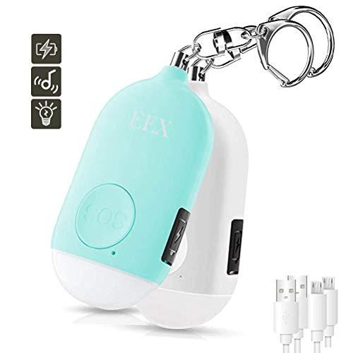 Persönlicher Alarm 130 db mit Taschenlampe Schlüsselanhänger USB Wiederaufladbar Taschenalarm Panikalarm Selbstverteidigung Sirene für Frauen Kinder (2 Stücke, Weiß+Blau)