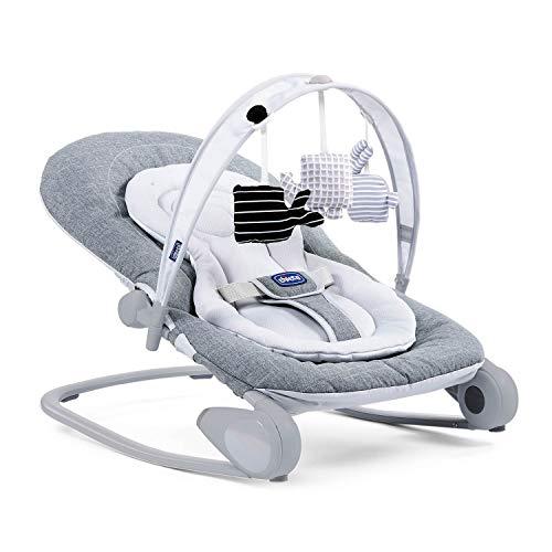 Chicco Hooplà - Amaca per neonati da 0 mesi a 18 kg, dondolo e sedia per bambini con arco, schienale regolabile e cuscino riduttore, compatta – grigio (Titanium)