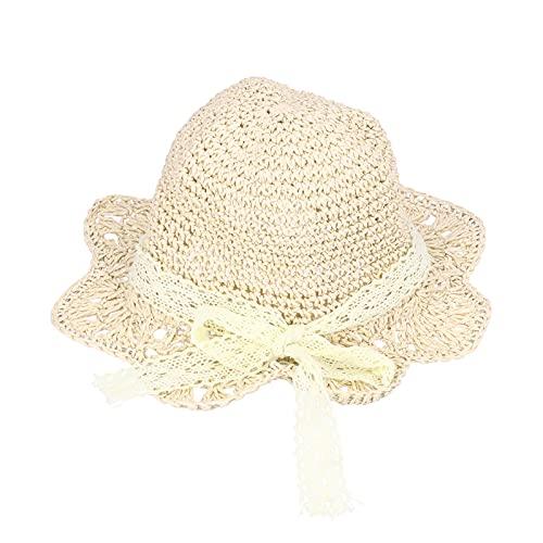 Zerodis Sombrero de Paja de Protección Solar para Bebé, Niña Pequeña Playa de Verano Gorra de Pescador Transpirable con Nudo de Lazo para Vacaciones Viajes Fiestas Acampada Natación(Blanco)