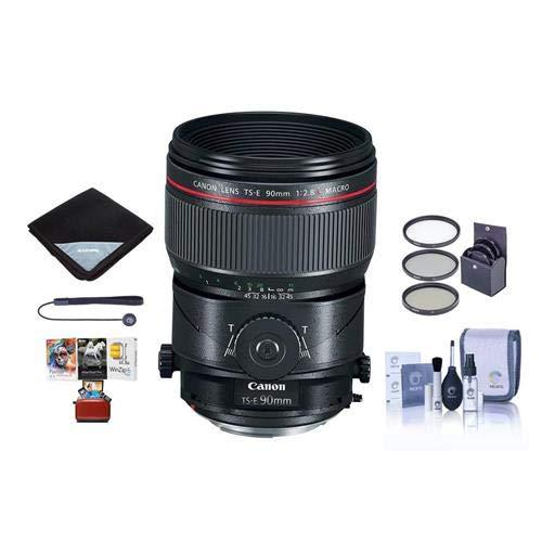 Canon TS-E 90mm f/2.8L Tilt-Shift Macro Lens - Bundle with 77mm Filter Kit, Lens Wrap, Cleaning Kit, Capleash II, Mac Software Package