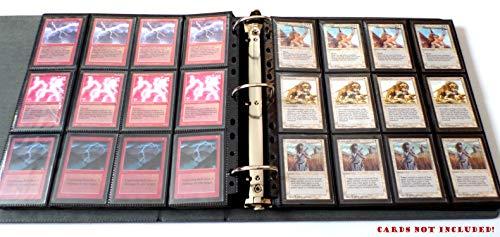 docsmagic.de 3-Ring Premium Playset Album Black + 50 24-Pocket Sideloading Pages - Raccoglitore per Carte da Gioco collezionabili + Pagine - Nero - PKM - YGO - MTG