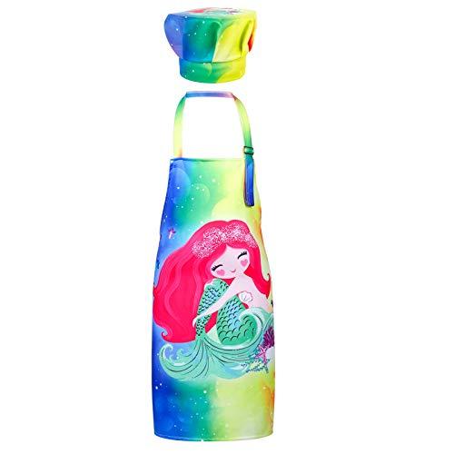 upain Delantal infantil con gorro de cocinero con diseño de sirena, para niñas, jóvenes, delantal para pintar, delantal de cocina ajustable para cocinar, hornear, pintar y jardinería