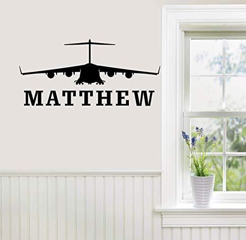 Aangepaste persoonlijke naam jongen kamer militaire muursticker muursticker muurschildering huisdecoratie helikopter vliegtuig teken leger marine jet vliegen piloot