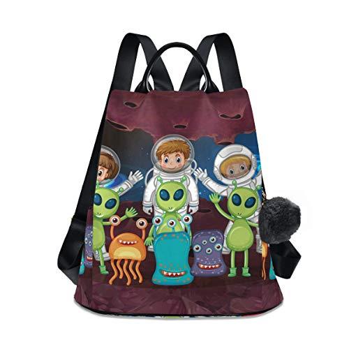 Damen-Reiserucksack, leicht, wasserdicht, Oxford, klein, für draußen, leger, Diebstahlschutz, Studentenrucksack Space Alien Astronaut