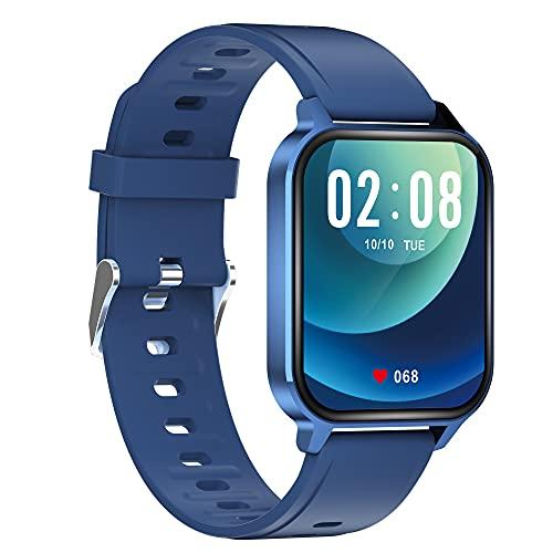KaiLangDe Smartwatch Reloj Inteligente con Pulsómetro Cronómetros Calorías Monitor de Sueño Podómetro Monitores de Actividad Impermeable Reloj Deportivo paraPulsera (Color : Navy Blue)
