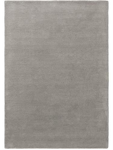 benuta NATURALS Wollteppich Bent Plain Grau 160x230 cm - Naturfaserteppich aus Wolle