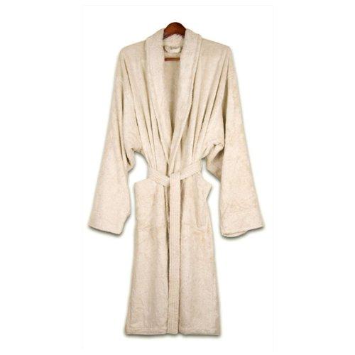 - Pure Fiber Organic Cotton Terrycloth Bathrobe, Ecru, Small