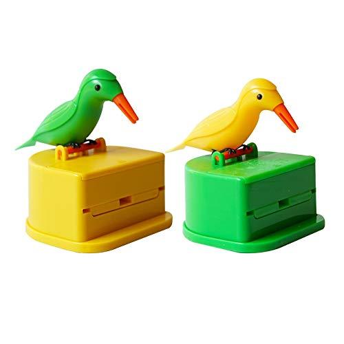 JiYanTang Dispensador de Palillos de pájaros, 2 Unidades, dispensador Creativo de pájaro Carpintero para Limpiar los Dientes, palillo de Dientes automático, Material Decorativo para Cocina, Fiesta