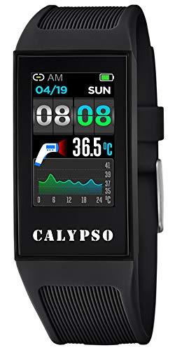 CALYPSO Reloj Modelo K8501/4 de la colección SMARTWATCH, Caja de 23,80/41,30 mm con Correa de Caucho Negro para Caballero