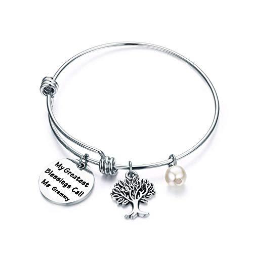 Gift for Grandma My Greatest Blessings Call Me Grammy,Nana,Gigi,MiMi Bracelet Family Tree Wire Bracelet Grandmother Jewelry for Mother's Day (Grammy)
