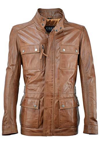 Lange Herren Lederjacke - M/65 Fieldjacket - echtes Leder - Military - Safari Style, Farbe:Cognac Braun, Größe:60