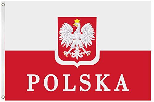 Blackshirt Company Polen Fahne Polnische National Länder Flagge mit Ösen 150 x 90 cm Farbe Mehrfarbig