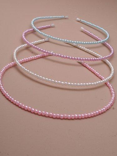 9315 Narrow 4mm Pale Pink Pearl bead aliceband Wedding Bridesmaid by Inca