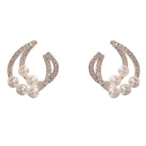 Kongqiabona-UK Pendientes de Micro Incrustaciones de Doble Capa para Mujer Pendientes Sencillos y versátiles de Lujo Ligero Agujas de Plata 925 Pendientes de circonita de Perlas de Moda