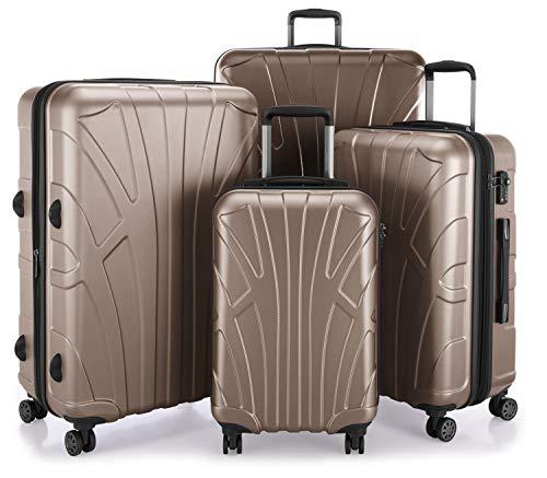 Suitline – 4er Set aus Handgepäck, mittelgroßer Koffer, großer Hartschalen-Koffer, übergroßer Reisekoffer Trolley Rollkoffer, TSA, 100{5cfbc55c9df2cb8db2909cb1d9c945e6f1b53081fd92ae86c52374e0df08396c} ABS Matt, Gold