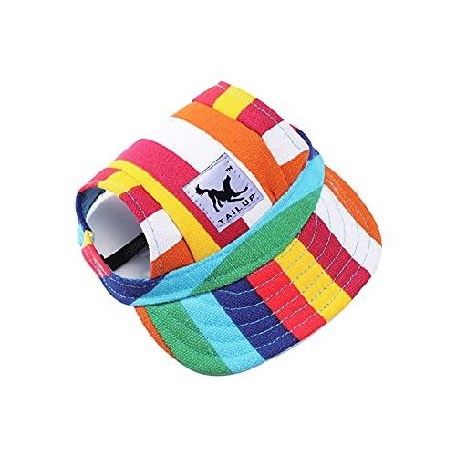 YZOTEK Petits Casquette de Baseball pour Chien - Chapeau de Protection Soleil pour Sports de Plein Air pour Animaux de Compagnie, Visière de Loisirs pour Chien Décontractée D'été avec Sangle Réglable