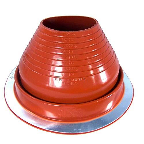 Dektite #6 Red Silicone Metal Roof Pipe Flashing, High Temp, Round Base, Pipe OD 5