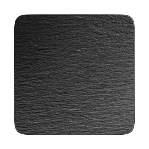 Villeroy & Boch Manufacture Rock Cuadrado/Gourmet Moderno Plato de presentación Porcelana Premium, Negro (Rock)