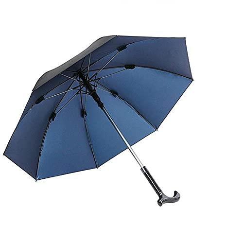 OUBALA Männer Regenschirm rutschfest Spazierstock Winddicht Regenschirm Walking Stick Bergsteigen Regenschirm Lange Griff Regenschirm (Color : Blue)
