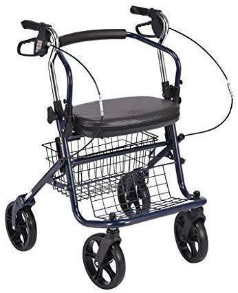 Dljyy Cart, Winkelwagentje lichtgewicht Rollator Walker 4-wielige opvouwbare kruidenierstas Trolley Carts opbergtas met draagbare opvouwbare zitzak, max. belasting 100 Kg, F