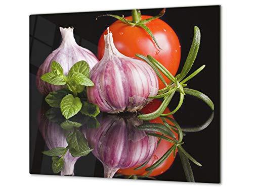 Tabla de cocina de vidrio templado - Tabla de cortar de cristal resistente – Cubre Vitro Decorativo – UNA PIEZA (60 x 52 cm) o DOS PIEZAS (30 x 52 cm); D07 Frutas y verduras: Ajo