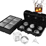 VOLOOP Ice Cube Trays Silicone | 2 Inch Large Cocktail Sphere Ice ball molds & Square Ice Cube Molds For Whiskey | Upgraded Design Preventing Leakage | Reusable Set of 2 & Free Funnel