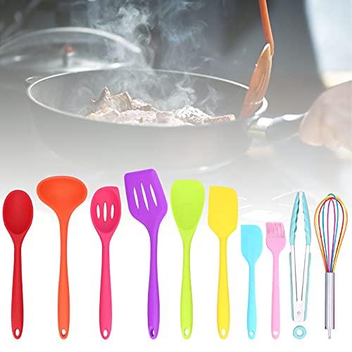 Voluxe Utensilios de Cocina, Utensilios de Cocina de Silicona con Antiadherente para cocinar y Hornear para Utensilios de Cocina(10-Piece Color Silicone Set (Including Color Box))