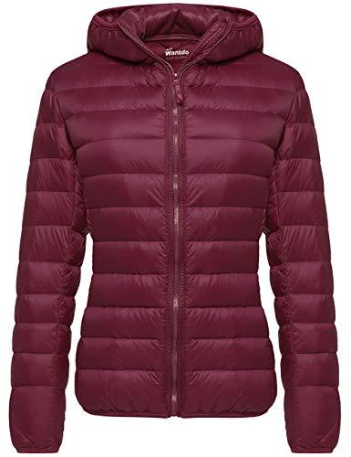 Wantdo Women's Plus Size Winter Down Jacket Warm Packable Coat Wine Red Medium
