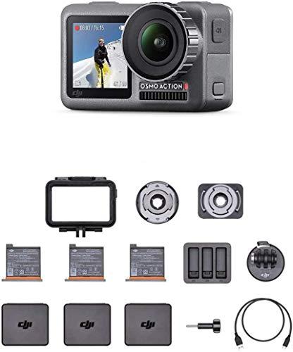 DJI Osmo Action Cam - Digitalkamera mit 2 Bildschirmen, wasserdicht bis zu 11 m, integrierte Stabilisierung, Foto und Video in 4K HDR bei 100 Mbit/s, Sprachsteuerung, Zubehör-Kit enthalten - Schwarz
