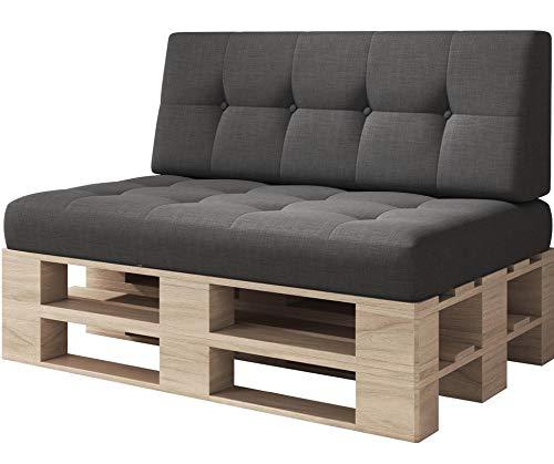 sunnypillow Palettenkissen Kaltschaum Palettenauflage Palettenpolster Palettensofa Sitzkissen Rückenlehne gesteppt 2er Set Black