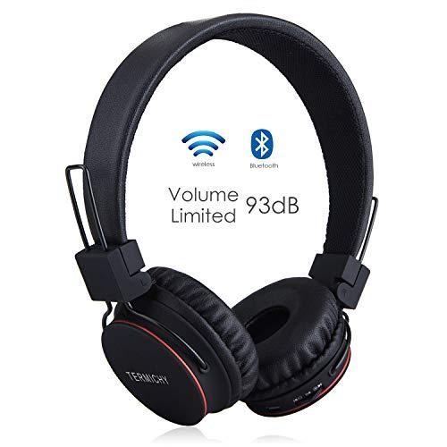 Termichy Bluetooth Kopfhörer Kinder mit 93dB Lautstärkebegrenzung, Faltbare Tragbare Leicht kopfhoerer Kabellos Audio Kabel On-Ear Drahtloser Kopfhörer Musik Shareport, Eingebautem Mikrofon (Schwarz)
