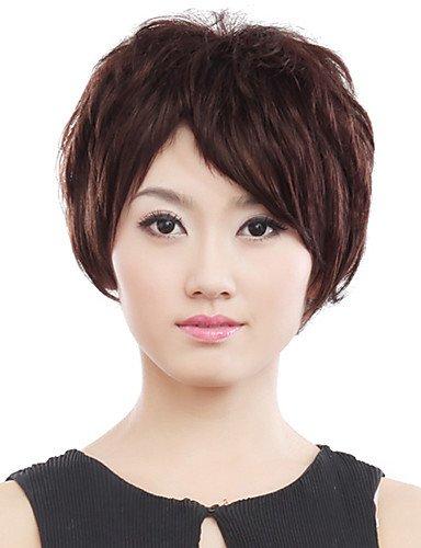 Perruques courtes en fibre synthétique marron bouclés