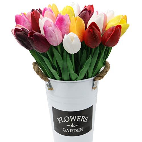 Olrla Flores Coloridas del tulipán Artificial Tacto Verdadero Novia de la Boda del Ramo por un Partido del jardín de decoración Floral de 30 pc con 1 fower Cubo (7 Colores)