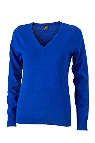 James & Nicholson Damen V-Neck Pullover, Blau (Royal), 40 (Herstellergröße: XL)
