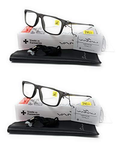Pack de 2 unidades de Gafas de lectura, presbicia, vista cansada, Diseño en Colores'BSMan' (x2 Grey, 2,00)