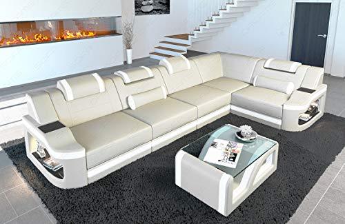 Sofa Dreams Leren hoekbank Padua L vorm LED-verlichting verstelbare hoofdsteunen