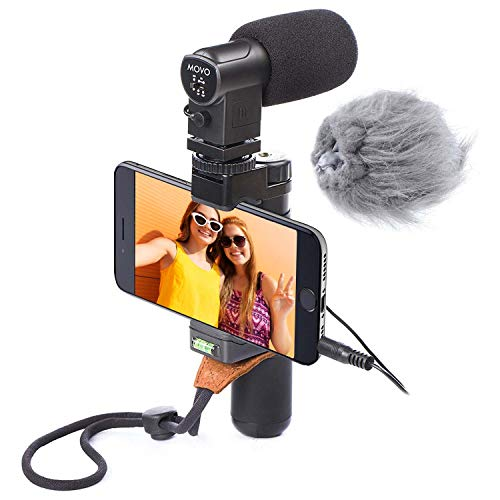 Movo Smartphone Video Rig with Stereo Microphone, Grip Handle, Wrist Strap for iPhone 5, 5S, 6, 6S, 7, 8, X, XS, XS Max, 11, 11 Pro, Samsung Galaxy S5, S6, S7, S8, S9 - Vlogging Equipment, Vlog Mic