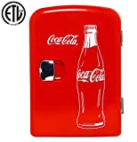 Coca-Cola Classic Portable 6 Can Thermoelectric Mini Fridge Cooler/Warmer, 4 L/4.2 Quarts Capacity, 12V DC/110V AC for home, dorm, car, boat, beverages, snacks, skincare, cosmetics, medication