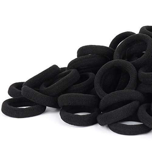 100PCS Black Seamless Baby Hair Ties – Girls Cotton Hair Bands – Tiny Kids Elastics Ponytail Holders for Baby Toddlers Girls Kids, 1 Inch in Diameter, Black, by Nspring