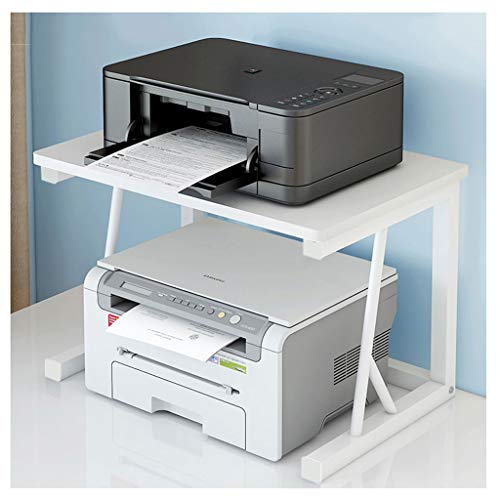 Small Printer Storage Rack 2-Tier Desktop Printer Shelf ,Used for Office and Home Fax Racks Scanners Document Storage Racks(Black) (Color : White)
