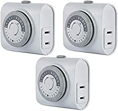 GE 3 Pack, 44801 24-Hour Indoor Basic Timer, 1 Polarized Outlet, Plug-in, Daily On/Off Cycle, 30 Minute Interval, for Lamps, Seasonal Appliances, and Portable Fans