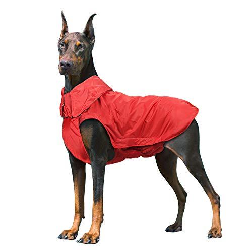 IREENUO Cappotto Cane Impermeabile, Cane Giacca Impermeabile Invernale Caldo con Nastro Riflettente Abbigliamento da Esterno Adatto per Cane Taglia Grande Medi Rosso-3XL