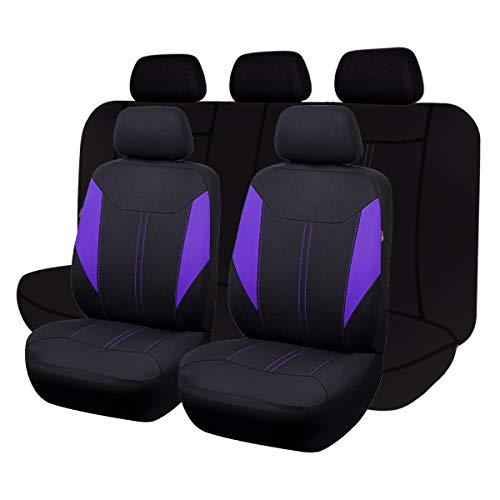 Flying Banner Ensemble complet de housses de siège de voiture universelles en maille respirante compatibles avec airbag (noir et violet)