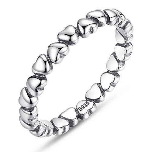 BAMOER 925 Sterling Silver Endless Love Heart Stacking Ring for Women Teen Girls Birthday Size 6-9 (6)