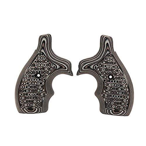 Hogue 61137 S&W J Frame Round Butt Grip, Bantam Piranha G-10 G-Mascus Black Gray, One Size
